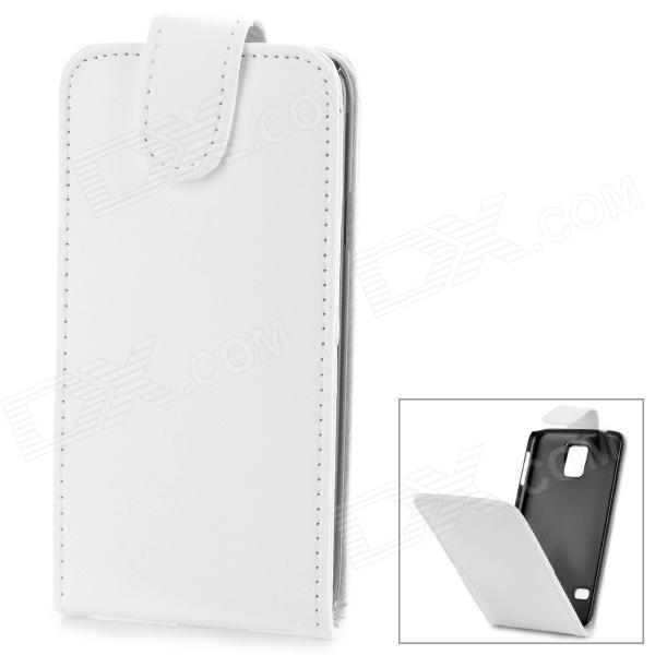 Protective Top Flip Open PU Leather Case w/ Card Slot for Samsung Galaxy S5 - White miniisw c 3 pu leather flip open case w display window for samsung galaxy s5 off white black