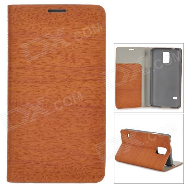 Protective PU Flip Open Case w/ Stand / Card Slots for Samsung Galaxy S5 - Brown protective flip open pu case w stand card slots strap for samsung galaxy note 3 n9000 white