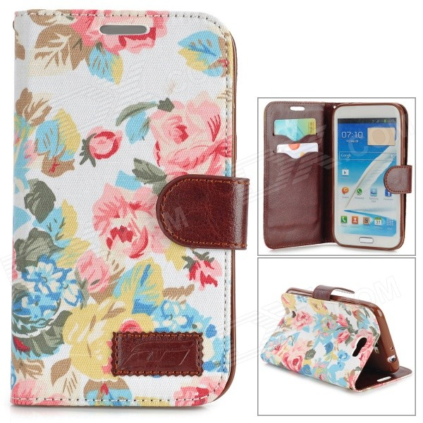Protective Flip Open PU Leather Case w/ Stand / Card Slots for Samsung N7100 - White + Multicolored stylish pattern protective flip open pu leather case w stand card slots for iphone 6 4 7 white