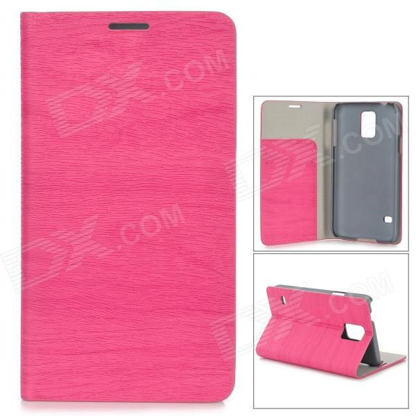 Protective PU Flip Open Case w/ Stand / Card Slots for Samsung Galaxy S5 - Deep Pink protective pu leather flip open case w stand for samsung note 3 n9000 deep pink light green