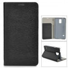 Protective PU Flip Open Case w/ Stand / Card Slots for Samsung Galaxy S5 - Black
