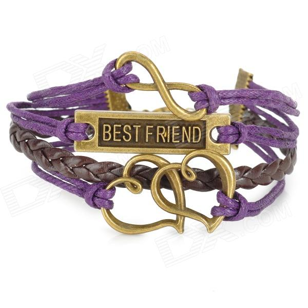UBE UTY 9003 Heart Shaped BEST FRIEND Pattern Bracelet - Deep Purple + Grey deep purple deep purple 30 very best of 30 anniversary collection