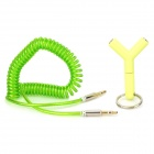 012 3.5mm Male to Male Spring Audio Cable + Male to Female Adapter - Green (50cm)