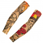 JUQI W59 Anti-UV Tattoo Pattern Seamless Sleeve for Cycling - Green + Red + Multi-Colored (Pair)