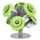 Novel Tree Style 6-Pot Seasoning Can Set - Green + Grey