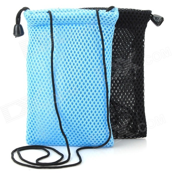 Breathable Nylon Mesh Bag Pouch for Digital Camera / IPHONE / MP3 / MP4 + More - Black + Blue(2 PCS)