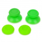 Replacement Plastic 3D Joystick Cap w/ Anti-slip Silicone Cover for PS4 - Grass Green (2 Pairs)