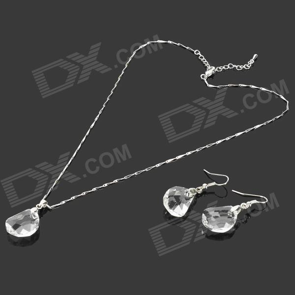 Elegant Crystal Necklace + Earrings Set - White + Translucent White (3 PCS) elegant crystal drill zinc alloy chain pendant necklace for women golden translucent white
