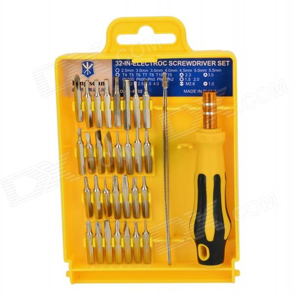 KS-6032 Handy Portable Screwdriver Handle w/ 32 Screwdrivers + Tweezers Tool Set - Silver + Yellow 33 in 1 mutifunction screwdriver set t type ratchet screw driver fast batch head chrome vanadium steel practical screwdrivers