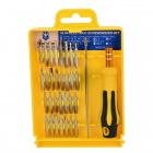 KS-6032 Handy Portable Screwdriver Handle w/ 32 Screwdrivers + Tweezers Tool Set - Silver + Yellow