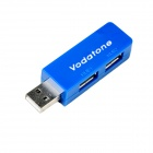 1-to-2 USB2.0 Voltage Power Intensifier Adapter - Blue