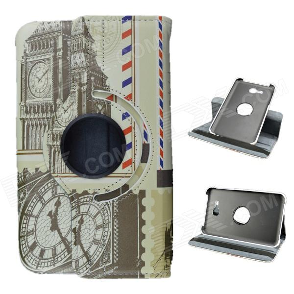 Clock Tower Pattern 360 Degree Rotation PU Leather Case Stand for Samsung Galaxy Tab 3 Lite T110/111 levett caesar prostate massager for 360 degree rotation g spot