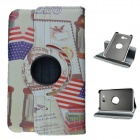 USA Style 360 Rotation PU Leather Case Stand for Samsung Galaxy Tab 3 Lite T110/111-  White + Red