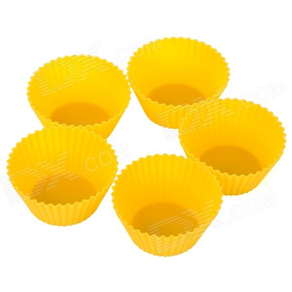 Durable Safe 7cm Silicone Round Cake Molds - Yellow (5 PCS)