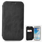 Protective Flip Open PU Leather + PC Case w/ Card Slot for Samsung Note 2 N7100 - Black