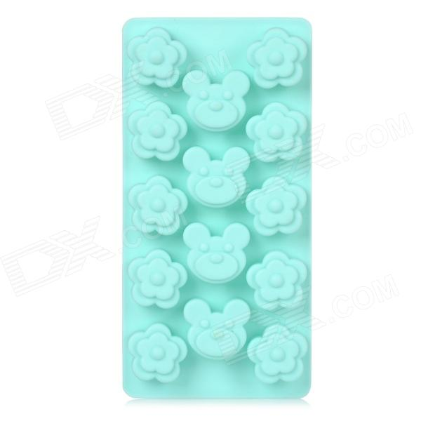Bear & Flower Style DIY Silicone Chocolate / Ice Cubes / Ice Cream Mold - Sky Blue