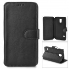Protective Flip Open PU Leather Case w/ Stand / Card Slots for Samsung S5 i9600 - Black