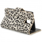 Fashion Leopard Pattern Protective PU Flip Open Case w/ Stand / Card Slots for Samsung S5 i9600