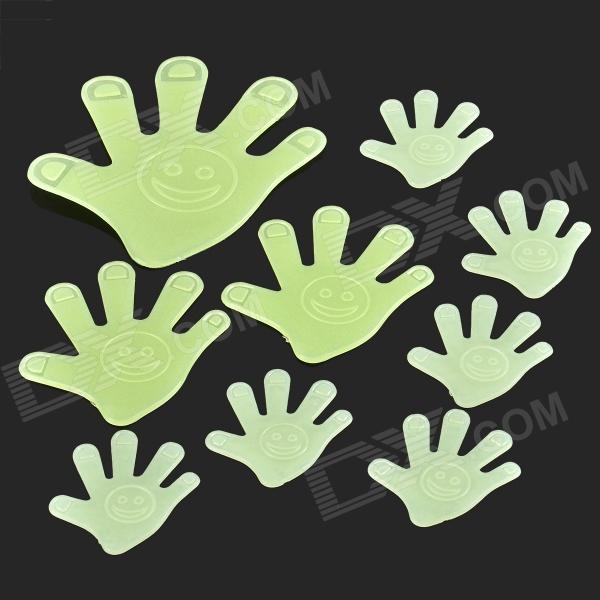 LX-03093 DIY Hand Style Glow-in-the-dark ABS Wall Sticker - Green glow in the dark dog footprint style decoration wall paper sticker green