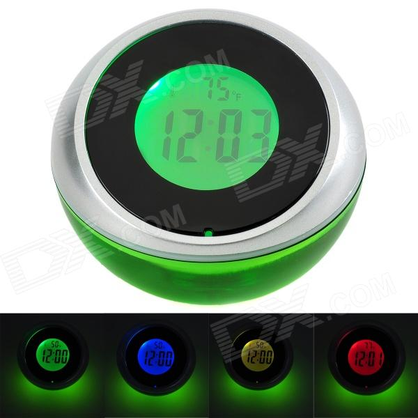 356 Digital Clock w/ Temperature Display + Voice Announcements + RGB LED Light - Green (3 x AAA)