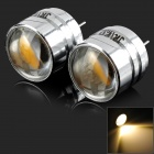 JRLED G4 MR11 2W 90LM 3300K Warm White COB Mini Spotlight w/ Optical Lens - Silver (2 PCS)