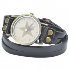 Retro PU Leather Band Five-Pointed Star Pendant Quartz Analog Wrist Watch - Black (1 x LR626)