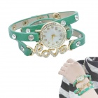 LOVE Style Crystal PU Leather Band Quartz Analog Bracelet Women's Watch - Green (1 x LR626)