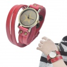 Retro PU Leather Band Five-Pointed Star Pendant Quartz Analog Wrist Watch - Red (1 x LR626)