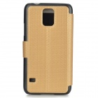 Protective PU Leather + Plastic Flip Open Case w/ Stand / Display Window for Samsung Galaxy S5