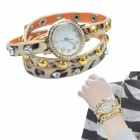 Stylish Leopard Pattern PU Leather Quartz Analog watch - Black + Orange + Yellow (1 x LR626)