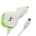Car Cigarette Lighter Charger w/ Spring Micro USB Cable / USB for Samsung / HTC / LG + More - White