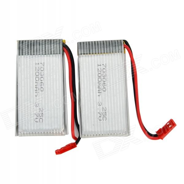 3.7V 1200mAh 25C Li-ion Polymer Battery for Model Helicopter - Silver + Red (2 PCS)