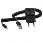 AC Power Charger Adapter + Micro USB Male Flexible Spring Data / Charging Cable - Black (EU Plug)