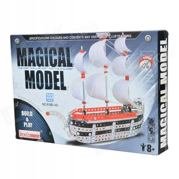 XW XW128885 DIY Retro Steamship Style 3D Puzzle Toy - White + Red