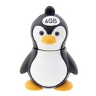 Pinguim estilo cartoon USB 2.0 Flash Drive Disk - preto + branco + laranja amarelado (4GB)