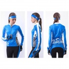 NUCKILY GC001 Cycling Women's Polyester Long Jersey Clothes - Blue (Size XL)