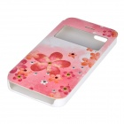 NEW JOBS Protective Red Flower Pattern Diamond-studded PU Leather Case for IPHONE 5 / 5S