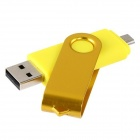 Pandaoo Rotatable 4GB OTG USB Flash Drive for Cell Phones / Tablet PCs - Yellow
