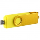 4GB rotatable OTG USB Flash Drive para celular / Tablet PCs - amarelo