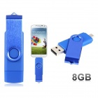 Pandaoo Rotatable 8GB OTG USB Flash Drive for Cell Phones / Tablet PCs - Blue