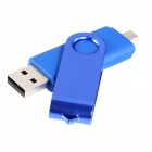 Rotatable 8GB OTG USB Flash Drive for Cell Phones / Tablet PCs - Blue