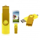 Pandaoo Rotatable 16GB OTG USB Flash Drive for Cell Phones / Tablet PCs - Yellow