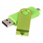 Pandaoo Rotatable 4GB OTG USB Flash Drive for Cell Phones / Tablet PCs - Green