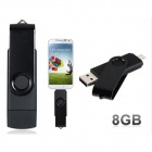 Rotatable 8GB OTG USB Flash Drive for Cell Phones / Tablet PCs - Black