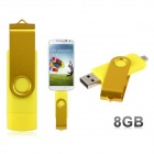 Rotatable 8GB OTG USB Flash Drive for Cell Phones / Tablet PCs - Yellow