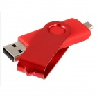 Rotatable 8GB OTG USB Flash Drive for Cell Phones / Tablet PCs - Red