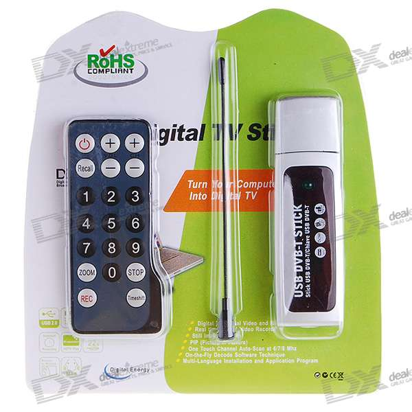 DVB-T Digital TV USB 2.0 Dongle With Remote Controller