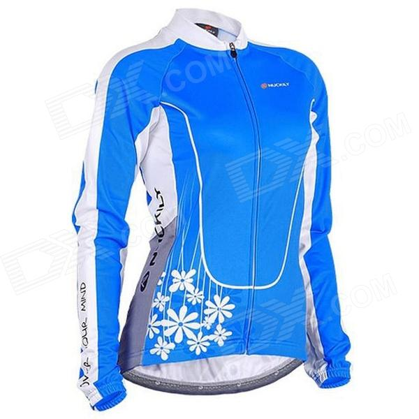 NUCKILY GC001 Cycling Women's Polyester Long Jersey Clothes - Blue (Size L)