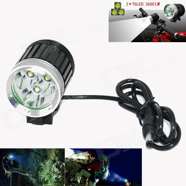 MARSING B30 LED 2400lm 4-Mode White Bicycle Light Headlamp - Black + Silver (4 x 18650) marsing 3 led 3000lm 4 mode cool white bike light headlamp black 4 x 18650