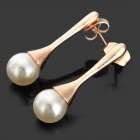 Rigant Fashionable Pearl Decorated Zinc Alloy Earring - Golden + White (2 PCS)